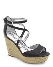 SAM EDELMAN Black Turner Platform Wedge Espadrilles Sandals Heels Size 9