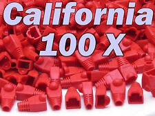 Lot 100 Pcs Red Plug End Cap Boot Cable Cat5 Cat5E Cat6 Rj45 8P8C Connector set