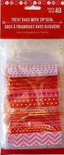 Valentine's Day ~ 40 Heart Zip Seal Party Treat Goody Plastic Bags ~ Hearts