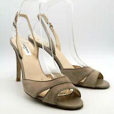 LK Bennett Shoes Sandals Size 5 38 Beige Suede Leather Peep Toe Sling Back Heel