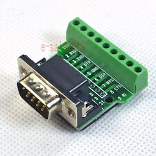 Right Angle D-SUB 9 DB9 Male Header Breakout Board to Terminal Block Connector M