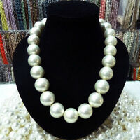 Rare Huge 20mm Genuine White South Sea Shell Pearl Round Beads Necklace 18'' AAA