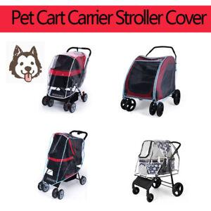 Folding Travel Outdoor Pet Cart Dog Cat Carrier Stroller Rain Cover Waterproof