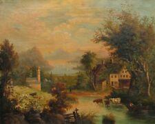 19th Century OLD Antique Hudson River Landscape w/ Cows Oil Painting NO RESERVE