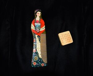 Changzhou Bamboo Hand Carved Wooden Comb Asian Fine Tooth Painted 15.5 cm  #126