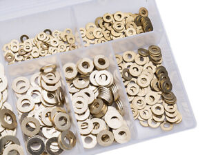 500 ASSORTED PIECE SOLID BRASS METRIC FLAT FORM A WASHERS M2 M2.5 M3 M4 M5 M6