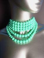 GORGEOUS 6 Strands Turquoise Blue Beads Choker Layered Necklace Earrings Set