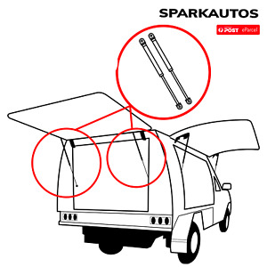 3 new gas strut pairs fit ARB Canopy REAR & SIDE windows 325mm long 90n and 160n