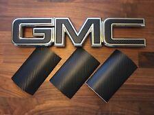 07-17 GMC Sierra Yukon BLACK CARBON FIBER Front/ Rear Emblem Overlay Kit Decal