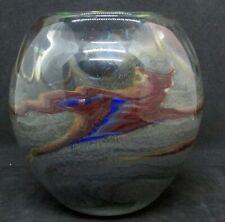 Heavy Arts & Crafts Art Glass Vase w/ Swirling Gray/Brown & Blue