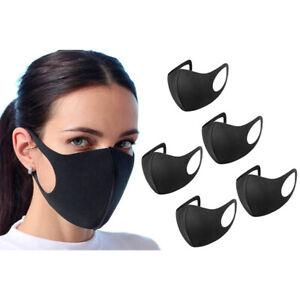 5 X Face Mask Protective Covering Washable Reusable Black Adult Unisex UK