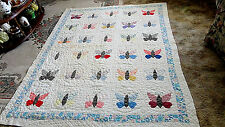 1930's Hand Appliqued Butterfly Quilt ~ Feed & Flour Sack ~ Beautiful Cond.