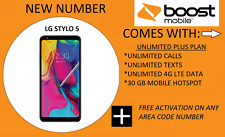 LG Stylo 5 - 32GB - (Boost Mobile) (Single SIM) Activated Any Area Code Number