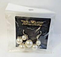 Traci Lynn Faux Pearl Dangle Drop Fashion Pierced Earrings New sealed package