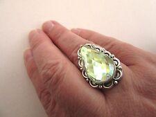 925 Silver Ring With Mystic Lemon Quartz Fully Faceted UK Q3/4, US 8.50 (rg2325)
