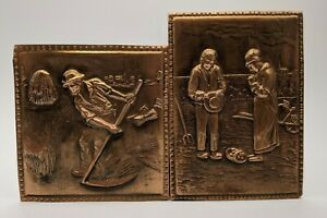 "2 Vintage Copper Tile/Back splash, 1940's Millet's ""The Angelus"" & farmer"