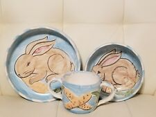 Handmade Handpainted 3 Piece Baby Child Pottery Dishes Set Bunny Rabbit