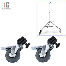 2pcs Photo Studio Tripod Easy Swivel Caster Wheel For Light Stands & Studio Boom