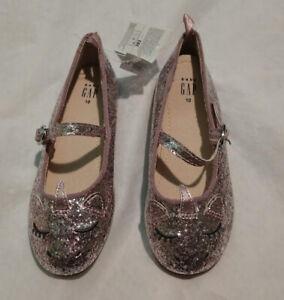 NWT Baby Gap Unicorn Rose Gold Glitter Flats Shoes Toddler Girl