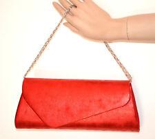 SAC POCHETTE femme ROUGE clutch bag chaîne argent couleur tachetée handbag G65