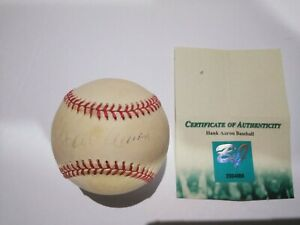 HANK AARON HOF Milwaukee Braves Atlanta Signed Auto MLB ONL COLEMAN BASEBALL COA