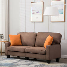 Brown Fabric Linen Sofa Upholstered Loveseat Couch Suite Lounge for 2-3 Seater