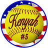 12 Team Softball USA Flag Decals Bumper Stickers Personalize Text Many Colors