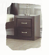 Finch 2 Drawer Chocolate Timber Bedside - Fully Assembled - BRAND NEW
