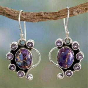Fashion Silver Women Amethyst Ear Hook Wedding Dangle Drop Earrings Jewelry Gift