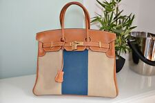 Hermes Birkin Bag 35 R-Stamp aus Leder in Canvas/Cognac