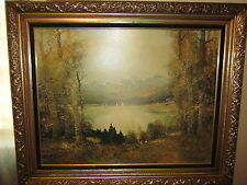 """Willi Bauer """"Summer Day on the Lake"""" Old PRINT with high end frame--Very nice"""
