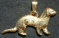 Ferret Pet 24K Gold Plated Pewter Pendant Jewelry Usa Made