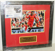 RAHEEM STERLING (LIVERPOOL) HAND SIGNED 8X10 PHOTO  FRAMED + C.O.A & PHOTO PROOF