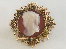 Vintage 14k 585 Hardstone Cameo Mourning Pin Museum Quality