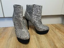 New Look Silver Glitter Platform Ankle Boots Size 8 / 42 Stiletto Heel Party