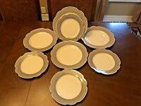 NEW! Grace's Teaware Scalloped Navy Light Blue Dinner & Salad Plates 8 Pc SET