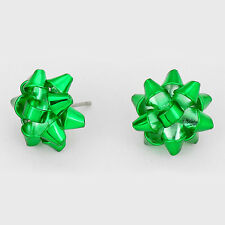 """Christmas Earrings Gift Bow Ribbon Metal 5/8"""" Stud Holiday Jewelry GREEN Party"""