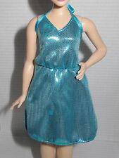 DRESS ~ C COCKTAIL ~CURVY BARBIE DOLL CAREER POP STAR METALLIC BLUE HALTER DRESS