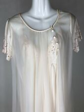 New listing Vintage Val Mode Double Chiffon Robe and Nightgown Peignoir Set Vanilla Color Sm