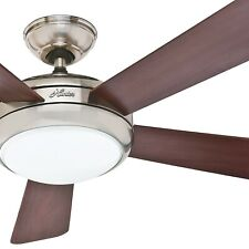 "Hunter Fan 52"" Contemporary Ceiling Fan in Brushed Nickel with Integrated Light"