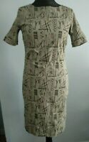 Bitte Kai Rand Black Grey Hieroglyphs Pencil Career Professional Dress Size 14