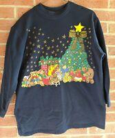 Vintage KWBL LA Adorable Christmas Tree Teddy Bear Sweatshirt Sz S Hipster