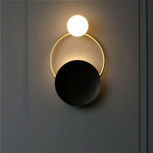 Modern Black Metal Round Shaped LED White Glass Globe Porch Wall Lights Fixtures