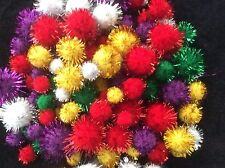Craft Glitter Pom Poms - 50 pk  Assorted Colours & Sizes -  Kids Christmas Craft