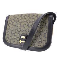 CELINE C Macadam Pattern Shoulder Bag Navy Vinyl Leather Italy Auth #GG254 O