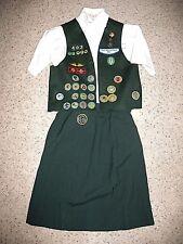 CADETTE Girl Scout Uniform 1973-79 Skirt Blouse Badge-Vest Halloween Costume