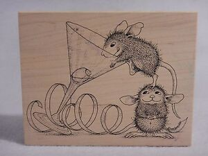 Olive A Party! 234 House Mouse Rubber Stamp : Martini Glass Mice Cocktails Party
