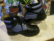 Predictions Lace Up Ankle Boots SZ 6M Coated Blue Denim & Black Leather Like