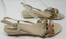 Dune size 6 (39) pale nude leather & orange leopard print strappy sandals