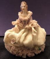 Early MZ Irish Dresden Pink Lace Unnamed Figurine Circa 1964